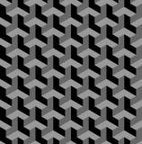 Sömlös geometrisk modell 3d optisk illusion Svart och grå geometrisk bakgrund och textur royaltyfri illustrationer