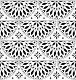 Sömlös geometrisk modell för mexicansk folkkonstvektor med blommor, svartvit fiestadesign som inspireras av traditionell konst fr royaltyfri illustrationer