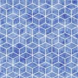 Sömlös geometrisk modell med blå vattenfärgtextur vektor illustrationer