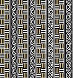 Sömlös geometrisk svart och guld- modell royaltyfri illustrationer
