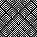 Sömlös geometrisk vektorbakgrund, enkel svartvit str Royaltyfria Bilder