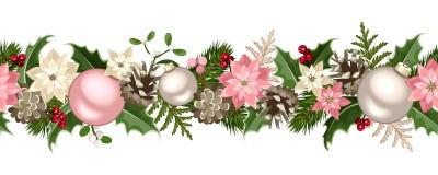 Sömlös girland för jul med granfilial-, rosa färg- och silverbollar, järnek, julstjärnan, kottar och mistel också vektor för core Arkivfoto