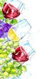 Sömlös gräns av en flaska av rött och vitt vin och druvor vektor illustrationer