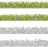 Sömlös gräns av tecknad filmgräs och blommor Arkivbilder