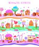 Sömlös gräns för godislandlägenhet stock illustrationer