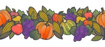 Sömlös gräns för höstskörd med frukt och grönsaker royaltyfri bild