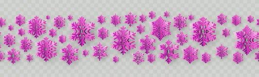 Sömlös gräns för jul och för nytt år med pappers- snöflingor 10 eps royaltyfri illustrationer