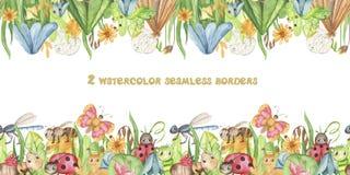 Sömlös gräns för vattenfärg med gulliga tecknad filmkryp och ängblommor Textur med fjärilar, myror, larver för wallpape vektor illustrationer