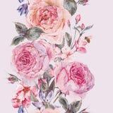 Sömlös gräns för vattenfärgvår med engelska rosor Arkivfoton