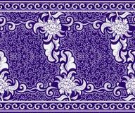 Sömlös gräns i den kinesiska stilen Blå horisontalblom- modell Prydnad på bevekelsegrunder av målning på porslin royaltyfri illustrationer