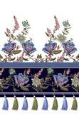 Sömlös gräns med den indiska etniska prydnaden och frans Folkblommor och sidor för tryck eller broderi också vektor för coreldraw royaltyfri illustrationer