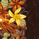 Sömlös gräns med olika kryddor Illustration av anis, kryddnejlikor, vanilj, ingefäran och kanel Royaltyfri Fotografi