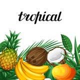 Sömlös gräns med tropiska frukter och sidor Bakgrund som göras, utan att fästa ihop maskeringen Enkelt att använda för bakgrund Fotografering för Bildbyråer