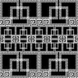 Sömlös gränsmodell för geometrisk grekisk vektor Dekorativ svart royaltyfri illustrationer