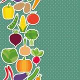 Sömlös gränsmodell för grönsak grönsaker för illustrationbildvektor Royaltyfri Foto