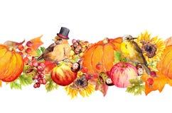Sömlös gränsram för tacksägelse Fåglar, frukter och grönsaker - pumpa, äpplen, bär, muttrar, höstsidor vektor illustrationer