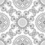 Sömlös grå blom- modell Arkivfoto