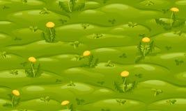 Sömlös grön gräsmatta med gula maskrosor royaltyfri illustrationer