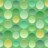 Sömlös grön textur med cirklar ljusa en 3D av olikt ljus - gräsplan royaltyfri illustrationer