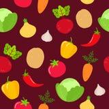 Sömlös grönsakmodell på burgundy bakgrund vektor illustrationer