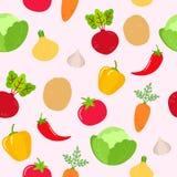 Sömlös grönsakmodell på rosa bakgrund royaltyfri illustrationer