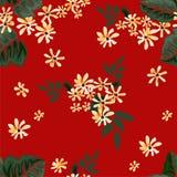 Sömlös grafisk blomma med gräsplansidor på röd bakgrund, vektorillustration Royaltyfria Bilder
