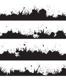 Sömlös grungegräns med färgstänk och droppar Arkivfoto
