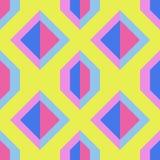 Sömlös gul modell med blått och rosa geometriska former Royaltyfri Bild