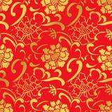 Sömlös guld- kinesisk blomma för pion för bakgrundsspiralkurva Royaltyfri Fotografi
