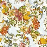 Sömlös gullig bakgrund med änder och blommor Royaltyfria Bilder