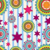 Sömlös gullig blom- bakgrund för vektor med stjärnor stock illustrationer