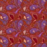 Sömlös härlig burgundy modell med paisley och fjärilar Jultomte i ett lock, i hörlurar med mikrofon, med en julklubba in till mun Royaltyfria Foton