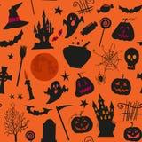 Sömlös halloween modell med, slottar, stearinljus, pumpor, stålarnolla-lykta och andra simbols Royaltyfri Foto