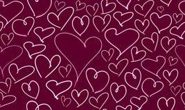 Sömlös hand dragen hjärtamodell Royaltyfria Bilder