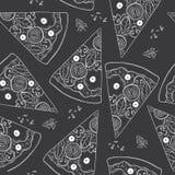 Sömlös hand dragen modell av snabbmatobjekt och symboler, hamburgare, pizza, drinkar, småfiskar, illustration Arkivbild