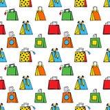 Sömlös hand-dragen modell av stiliserade färgrika shoppa påsar på en vit bakgrund royaltyfri illustrationer