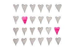 Sömlös hand dragen modell med hjärtor för flygillustration för näbb dekorativ bild dess paper stycksvalavattenfärg fotografering för bildbyråer