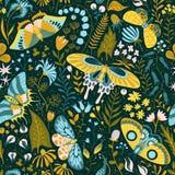 Sömlös hand-dragen modell med växter och fjärilar Royaltyfria Foton