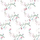 Sömlös hand dragen modellsakura blommande filial på den vita materielvektorillustrationen Royaltyfri Foto