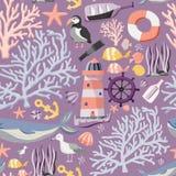 Sömlös havsmodell med fiskar, ankaret, koraller, fyren, valet, den atlantiska lunnefågeln etc. sky för seagull för bakgrundsflygh stock illustrationer