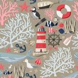 Sömlös havsmodell med fiskar, ankaret, koraller, fyren, valet, den atlantiska lunnefågeln etc. sky för seagull för bakgrundsflygh vektor illustrationer