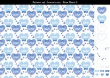 Sömlös hjärtabackgrond i blått färgar tema med bonussymboler - 3 Stock Illustrationer