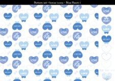 Sömlös hjärtabackgrond i blått färgar tema med bonussymboler - 1 Royaltyfri Illustrationer