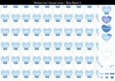 Sömlös hjärtabackgrond i blått färgar tema med bonussymboler - 4 Royaltyfri Illustrationer