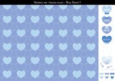 Sömlös hjärtabackgrond i blått färgar tema med bonussymboler - 7 Royaltyfri Illustrationer