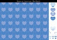 Sömlös hjärtabackgrond i blått färgar tema med bonussymboler - 6 Vektor Illustrationer