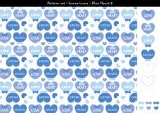 Sömlös hjärtabackgrond i blått färgar tema med bonussymboler - 2 Vektor Illustrationer