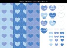 Sömlös hjärtabackgrond i blått färgar tema med bonussymboler - 10 Vektor Illustrationer