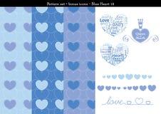 Sömlös hjärtabackgrond i blått färgar tema med bonussymboler - 12 Stock Illustrationer