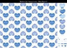 Sömlös hjärtabackgrond i blått färgar tema med bonussymboler - 5 Royaltyfri Illustrationer